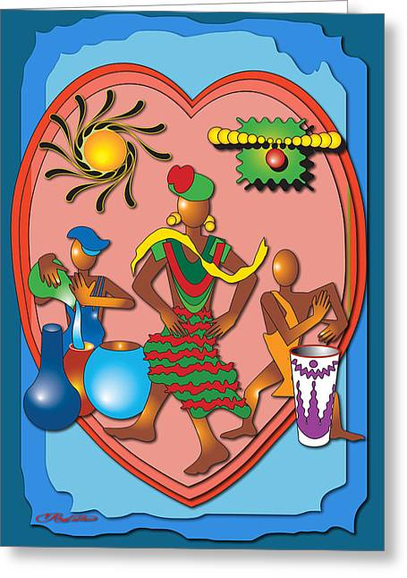 African-american Drawings Greeting Cards - Calypso Greeting Card by Vernon Rowlette
