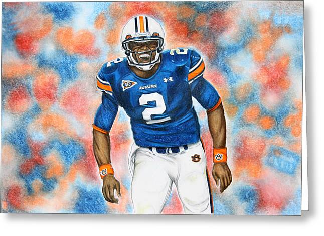 Cam Greeting Cards - Cam Newton - UGA Greeting Card by Lance Curry