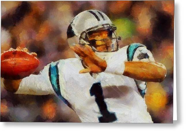 Win Paintings Greeting Cards - Cam Newton Greeting Card by Dan Sproul