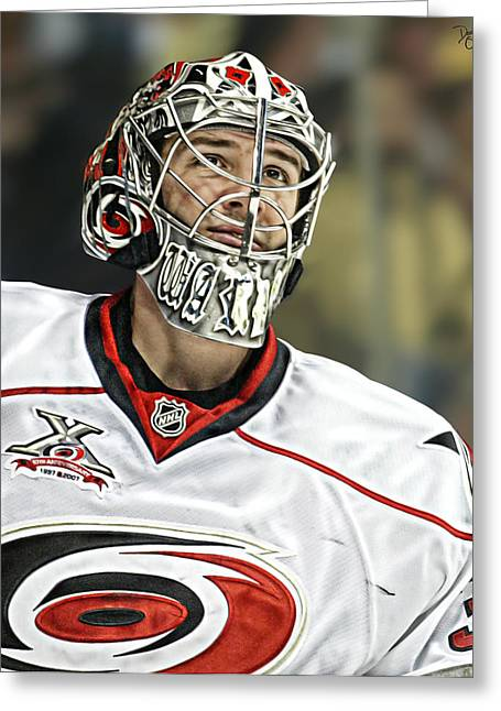 Reebok Greeting Cards - Cam Ward Greeting Card by Don Olea