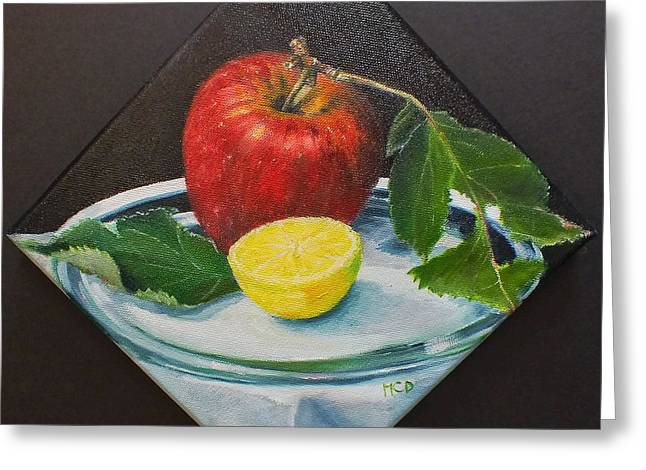 Table Cloth Greeting Cards - Camano Apple Greeting Card by Marie-Claire Dole