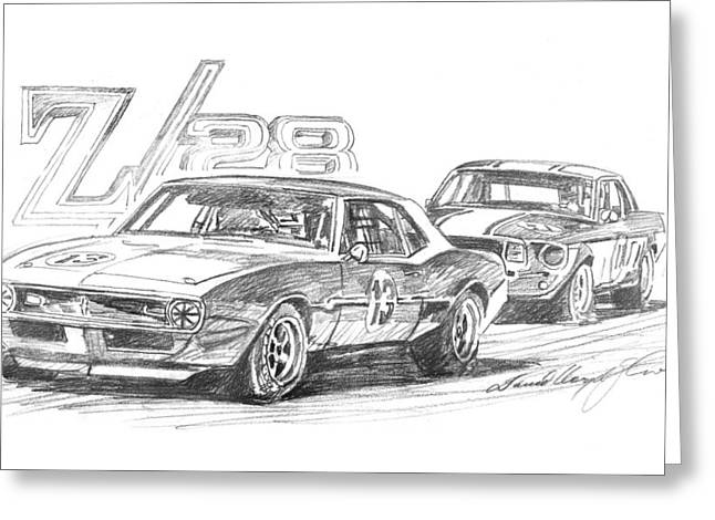 Pencil Sketch Drawings Greeting Cards - Camaro Z28 Trans Am Greeting Card by David Lloyd Glover