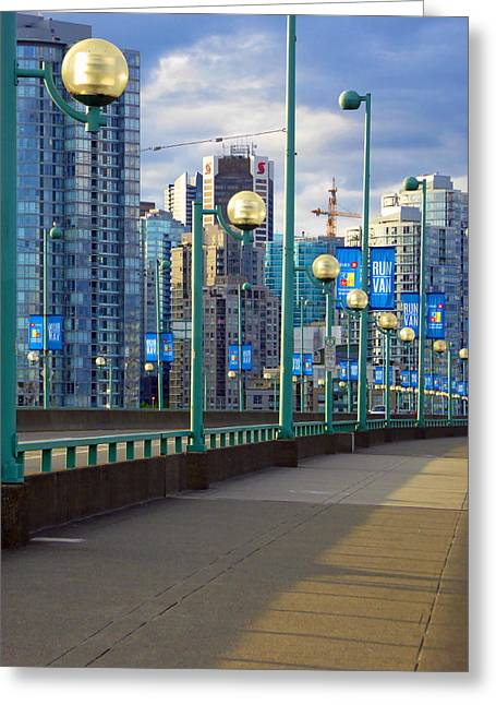 Cambie Bridge Greeting Cards - Cambie Bridge Walkway Greeting Card by Laurie Tsemak