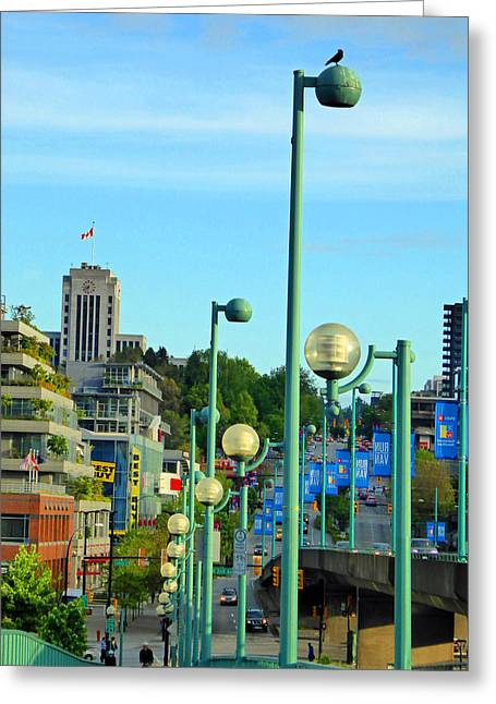 Yaletown Greeting Cards - Cambie Lights Greeting Card by Laurie Tsemak