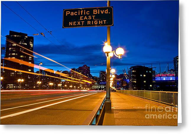 Cambie Bridge Greeting Cards - Cambie Street Bridge At Night Greeting Card by Terry Elniski