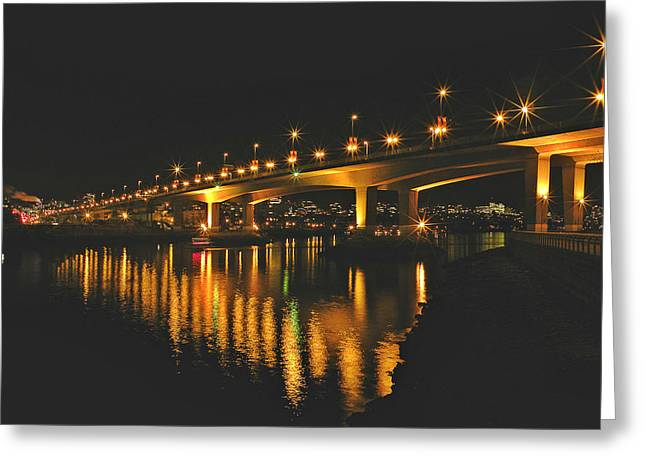 Cambie Bridge Greeting Cards - Cambie Street Bridge Greeting Card by Brian Chase
