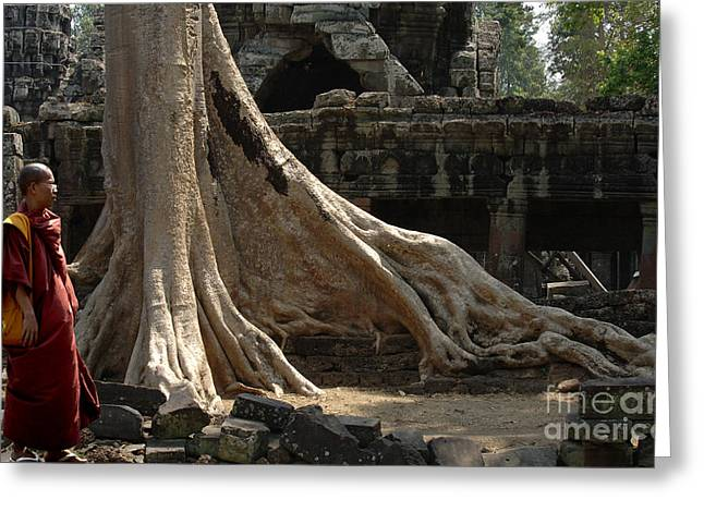 Buddhist Monks Greeting Cards - Cambodia Angkor Wat 6 Greeting Card by Bob Christopher