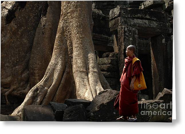 Buddhist Monks Greeting Cards - Cambodia Angkor Wat 7 Greeting Card by Bob Christopher