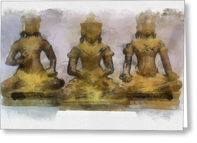 Cambodia Antique Temple Greeting Card by Teara Na