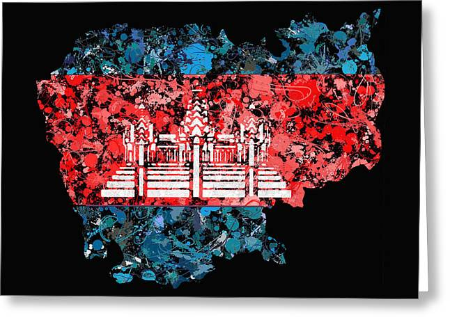 Cartography Greeting Cards - Cambodia Map flag Greeting Card by Marion De Lauzun