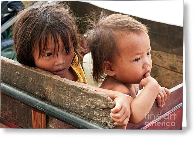 Two Young Girls Greeting Cards - Cambodian Children 03 Greeting Card by Rick Piper Photography
