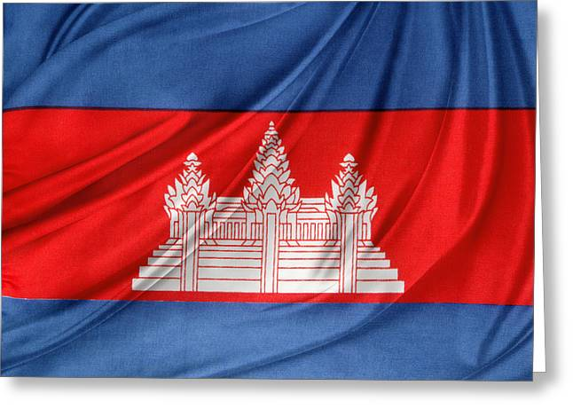 Waving Flag Greeting Cards - Cambodian flag Greeting Card by Les Cunliffe