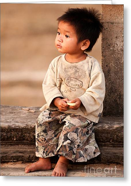 2-3 Years Greeting Cards - Cambodian Girl 02 Greeting Card by Rick Piper Photography