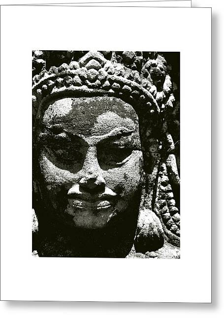 Temple Of Ta Prohm Greeting Cards - Cambodian Mask Greeting Card by Don Saunderson