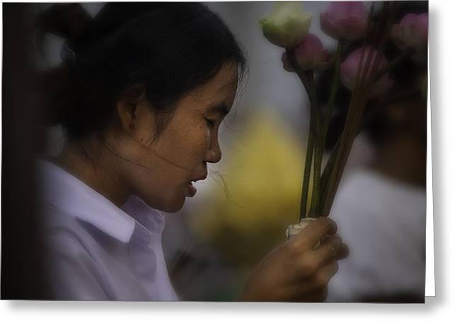 Cambodian Prayers Greeting Card by David Longstreath