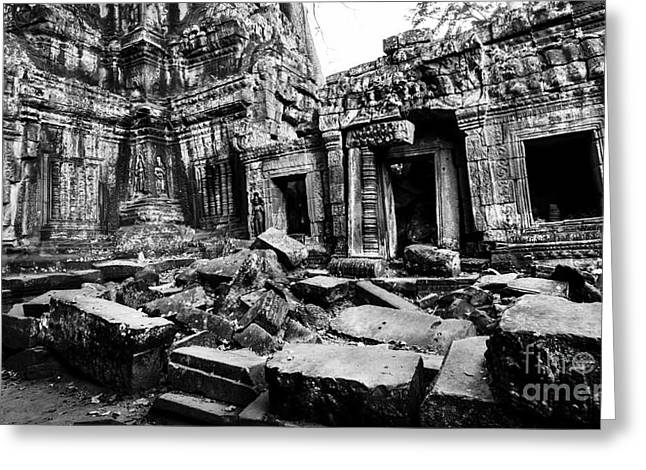 Cambodian Ruin At Ta Prohm Greeting Card by Julian Cook