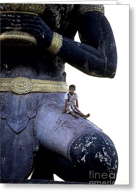 Tonle Greeting Cards - Cambodian statue Battambang Cambodia. Greeting Card by Ryan Fox