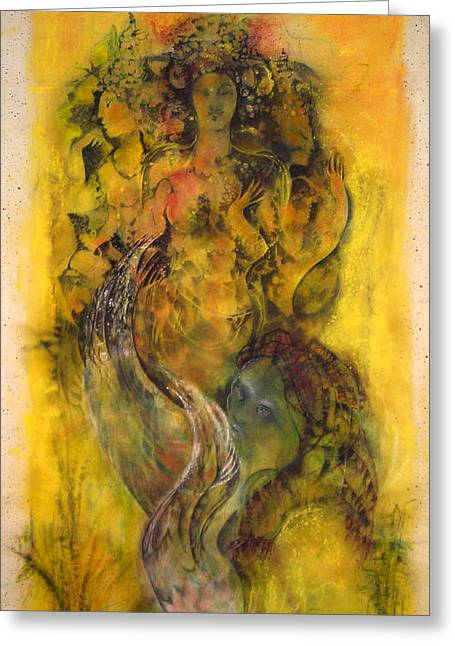 Ancient Ruins Pastels Greeting Cards - CAMBODIAS MAIDENS   Elegance On The Carved Wall Greeting Card by Josie Taglienti