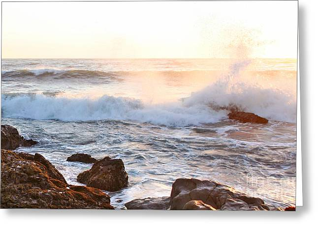 Cambria Greeting Cards - Cambria Coast Sunset Greeting Card by Michael Rock