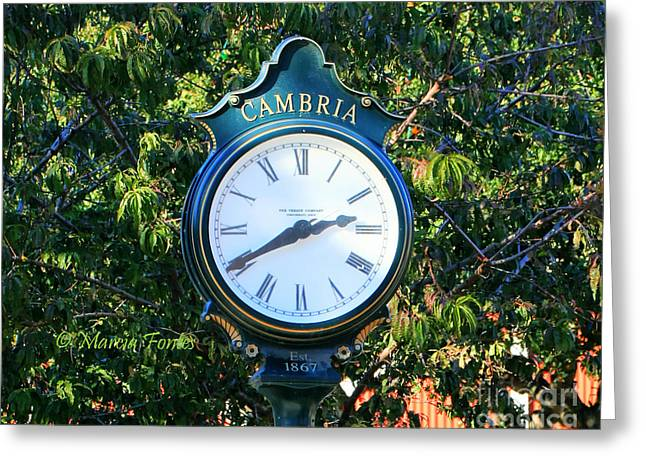 Cambria Greeting Cards - Cambria Square Time Clock Greeting Card by Tap On Photo