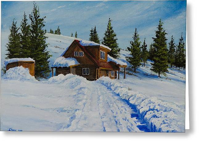 Bob Ross Paintings Greeting Cards - Cambridge Cabin Greeting Card by C Steele