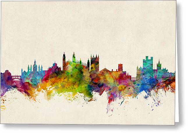 Skyline Greeting Cards - Cambridge England Skyline Greeting Card by Michael Tompsett