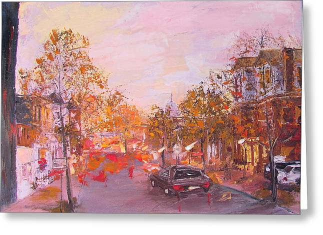 Tram Red Paintings Greeting Cards - Cambridge MA Greeting Card by Elena Nayman
