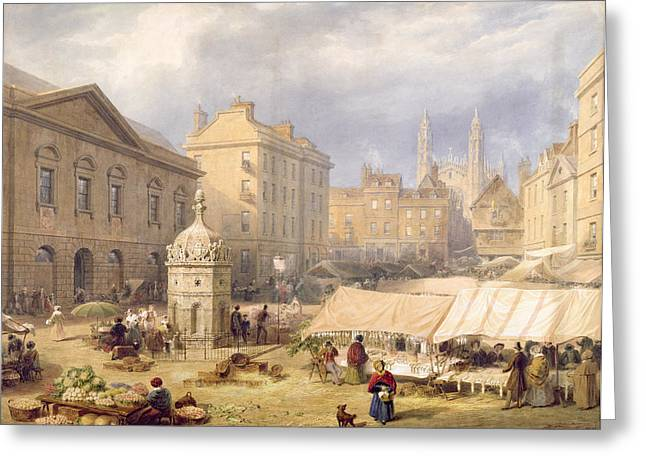 Greengrocer Greeting Cards - Cambridge Market Place, 1841 Greeting Card by Frederick Mackenzie
