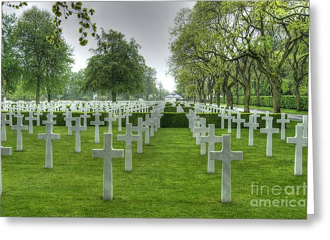 World War 2 Airmen Greeting Cards - Cambridge American Cemetery and Memorial Greeting Card by David Birchall