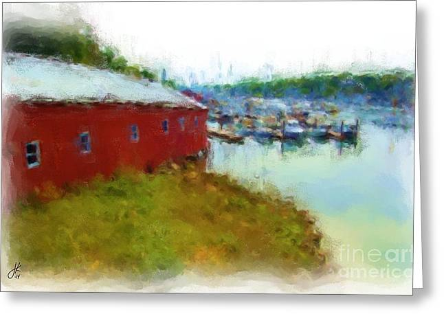 Maine Landscape Pastels Greeting Cards - Camden Boat House 1037 20140927 Greeting Card by Julie Knapp