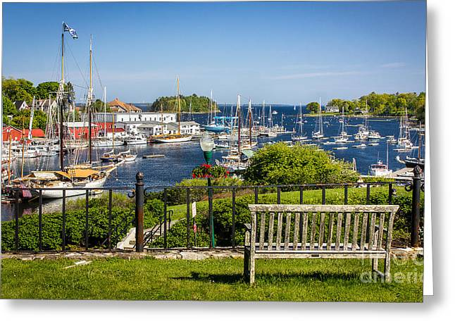 Mid-coast Maine Greeting Cards - Camden Harbor Greeting Card by Benjamin Williamson