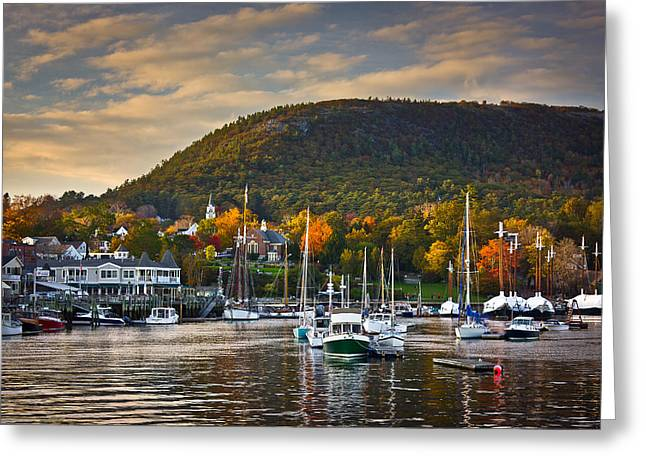 New England Ocean Greeting Cards - Camden Harbor in the Fall Greeting Card by Benjamin Williamson