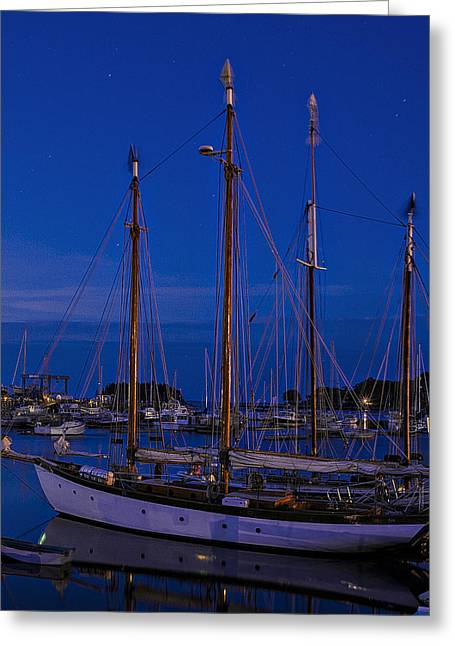 Schooner Greeting Cards - Camden Harbor Maine at 4AM Greeting Card by Marty Saccone