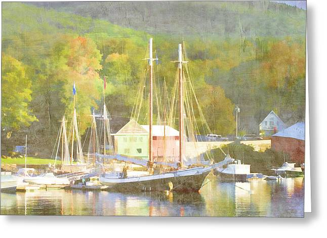 Schooner Digital Greeting Cards - Camden Harbor Maine Greeting Card by Carol Leigh