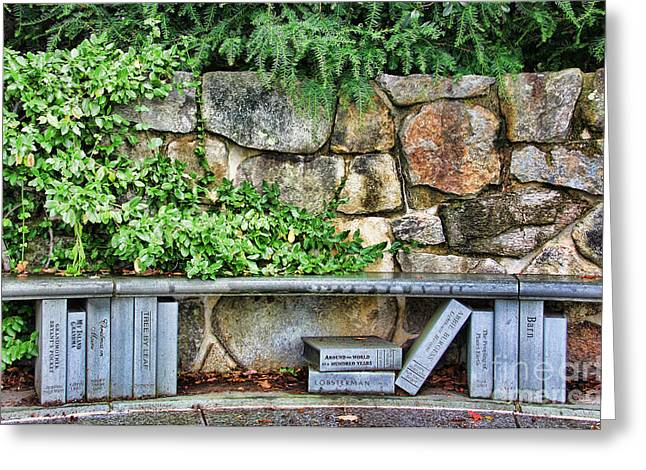 Library Greeting Cards - Camden Maine Library Bench 2987 Greeting Card by Jack Schultz