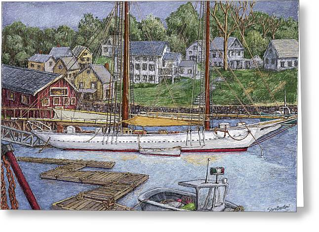 Docked Boat Greeting Cards - Camden Maine Greeting Card by Steve Breslow