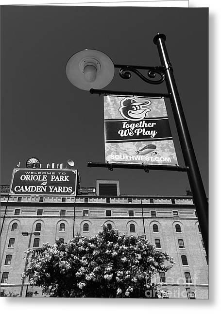 Baltimore Baseball Parks Greeting Cards - Camden Yards Baltimore Greeting Card by James Brunker