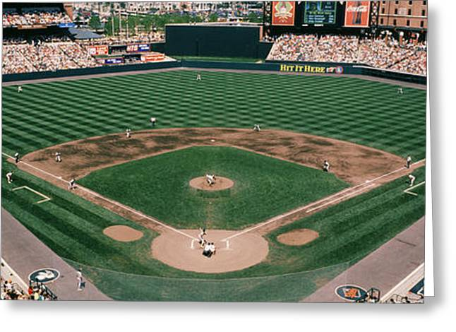 Baltimore Oriole Greeting Cards - Camden Yards Baseball Field Baltimore Md Greeting Card by Panoramic Images
