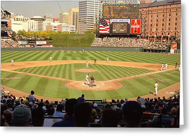 League Greeting Cards - Camden Yards Baseball Game Baltimore Greeting Card by Panoramic Images