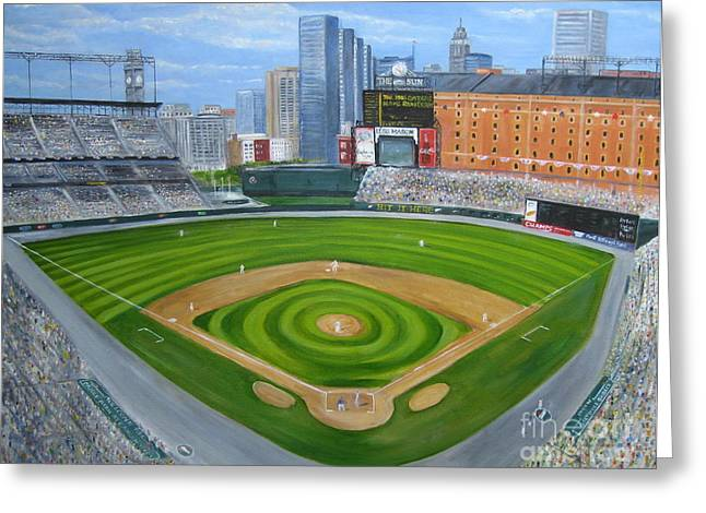 Baltimore Oriole Greeting Cards - Camden Yards Greeting Card by Laura Corebello