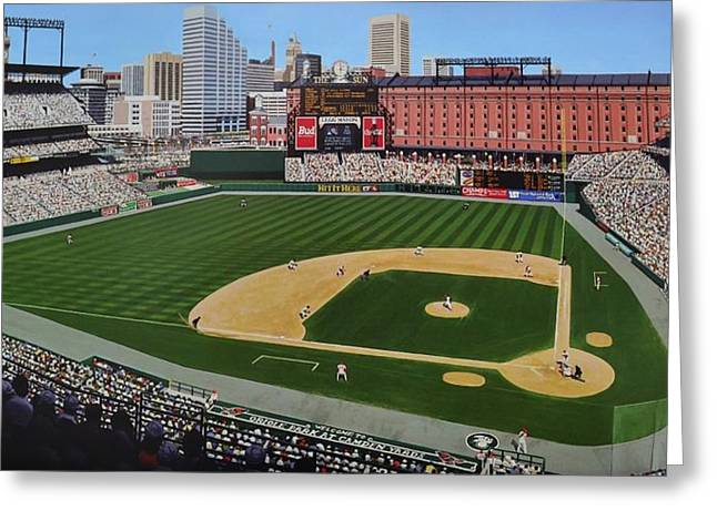 Baseball Stadiums Paintings Greeting Cards - Camden Yards Matenee Greeting Card by Thomas  Kolendra