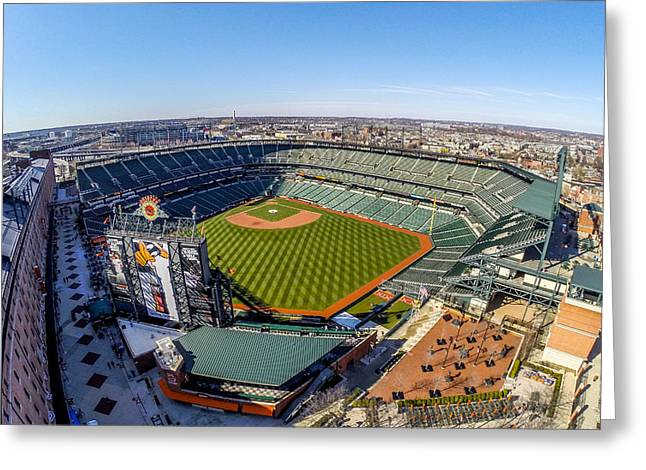 Ripken Greeting Cards - Camden Yards-The Birds Nest Greeting Card by Mid Atlantic Aerial