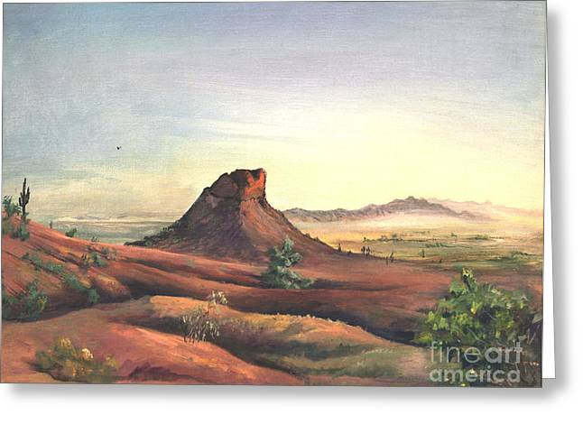 Camelback Mountain Greeting Cards - Camel Back Overlook Greeting Card by Art By Tolpo Collection