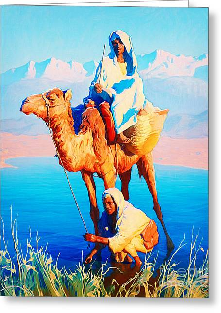 Camel Driver Greeting Card by Celestial Images