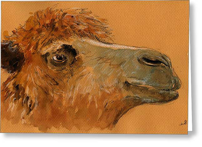 Camels Greeting Cards - Camel head study Greeting Card by Juan  Bosco