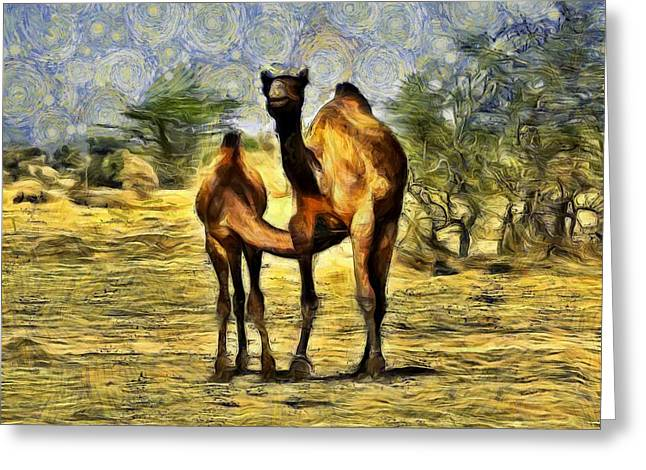 Shepherds Greeting Cards - Camel Mom and Baby in Desert India Rajasthan Greeting Card by Sue Jacobi