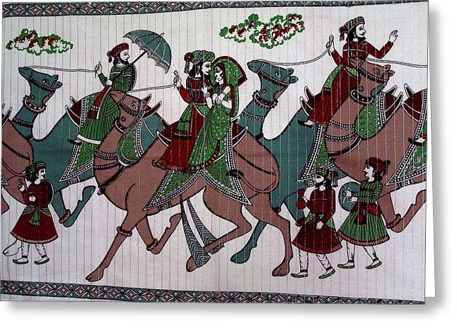 Indian Tapestries - Textiles Greeting Cards - Camel Riders Greeting Card by Suhas Tavkar