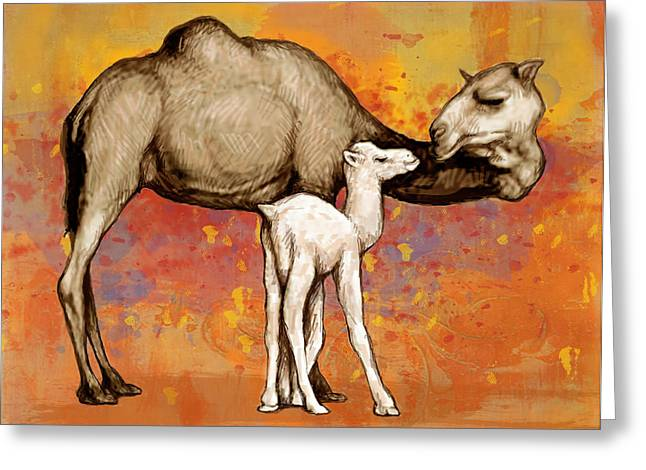 Camels Greeting Cards - Camel Stylised Pop Art Drawing Potrait Poser Greeting Card by Kim Wang
