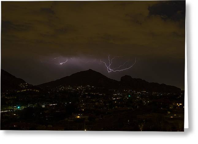 Arizona Lightning Greeting Cards - Camelback Lightning 2 Greeting Card by Cathy Franklin