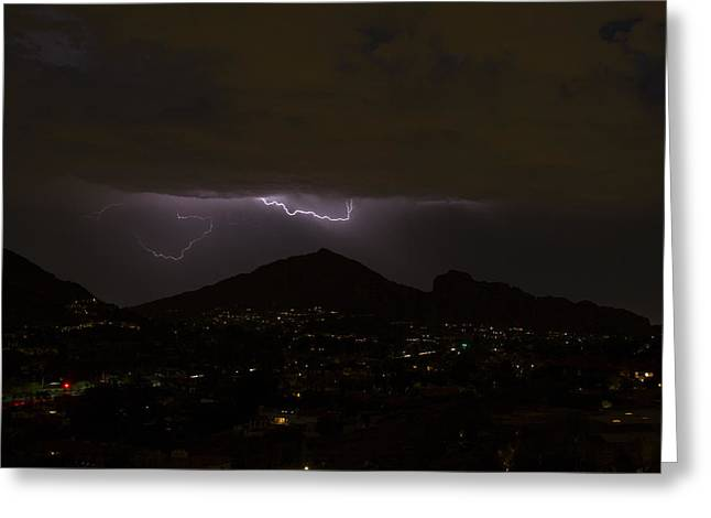 Arizona Lightning Greeting Cards - Camelback Lightning Greeting Card by Cathy Franklin